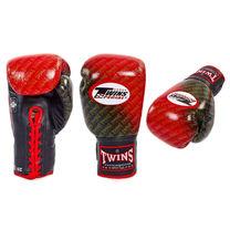 Профессиональные боксерские перчатки Twins на шнурках (FBGLL-TW1-RD, черно-красные)